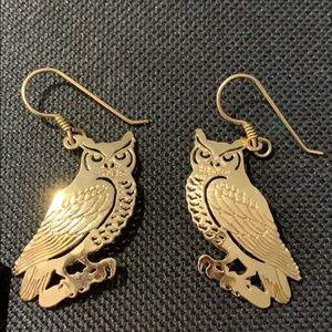 WILD BRYDE GOLDTONE GREAT HORNED OWL EARRINGS